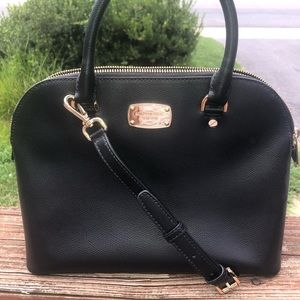 MICHAEL KORS BLACK SAFFIANO LEATHER SATCHEL